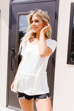 Load image into Gallery viewer, Ruffled Peplum Top In Cream