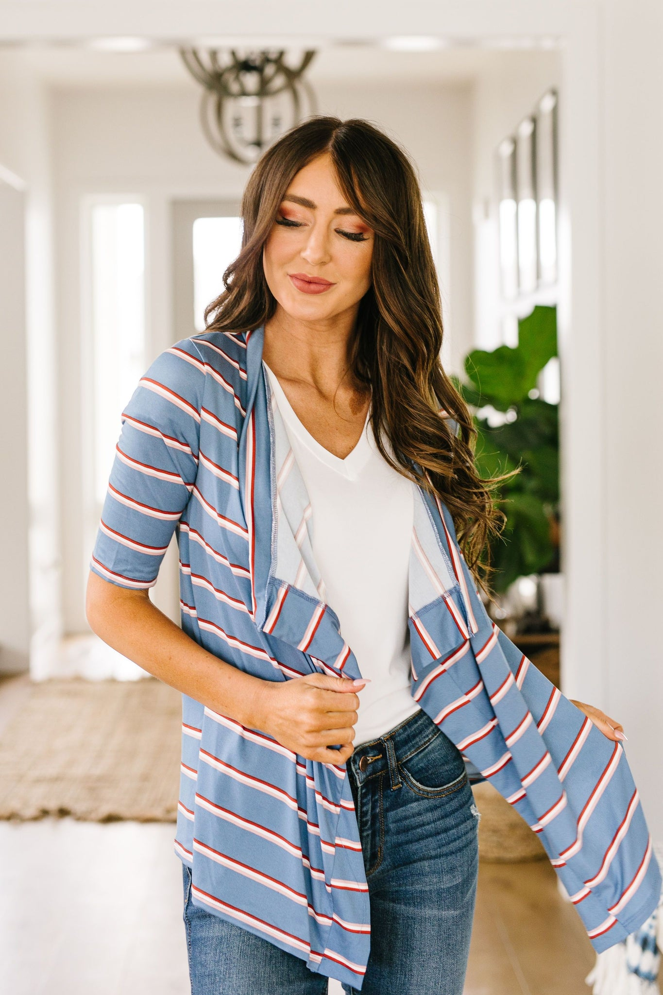 Sporty Striped Cardi In Blue