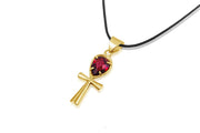 Ankh Necklace Crystal - Garnet