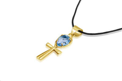 Ankh Necklace Crystal - Blue Topaz