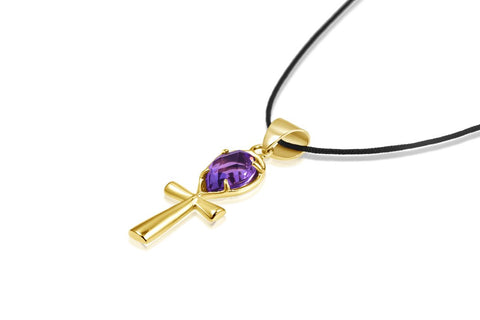 Ankh Necklace Crystal - Amethyst