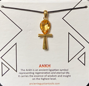 Ankh Necklace Crystal - Citrine