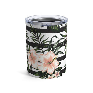 Striped Hibiscus 10oz Insulated Tumbler