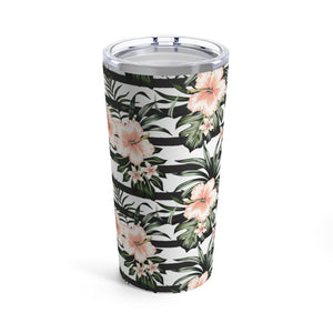 Striped Hibiscus 20oz Hot/Cold Stainless Tumbler