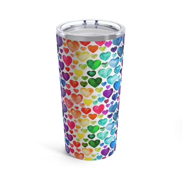 Rainbow Hearts 20oz Hot/Cold Stainless Tumbler