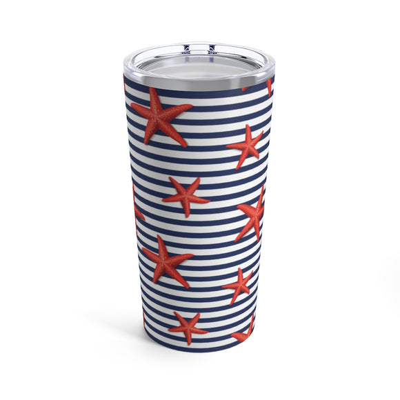 Nautical Stripes & Starfish 20oz Hot/Cold Stainless Tumbler