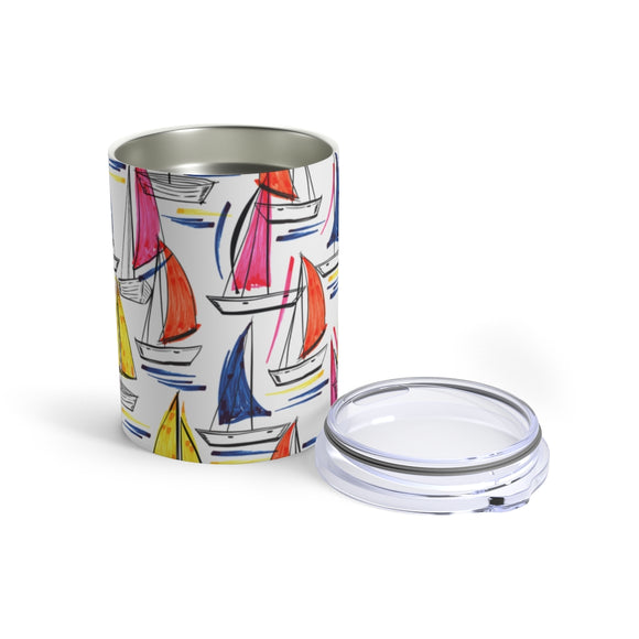 Colorful Sailboats 10oz Insulated Tumbler