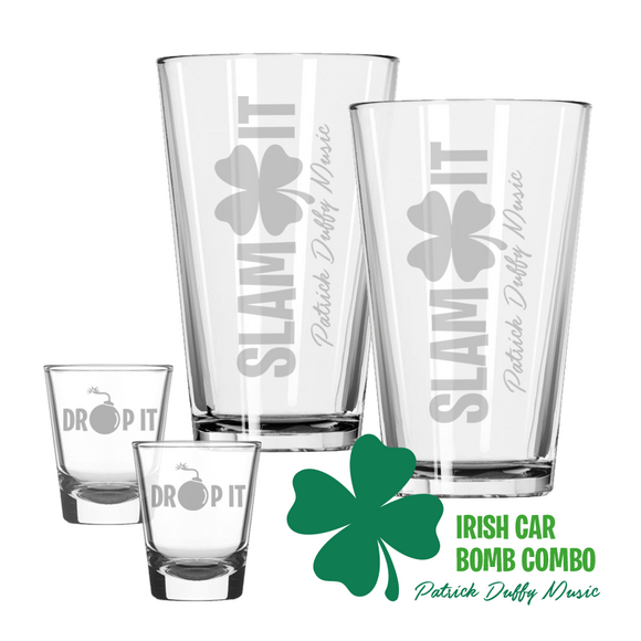 Patrick Duffy Music Irish Car Bomb Etched Glass Combo