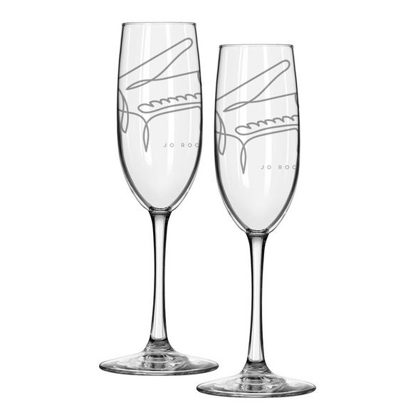 Jo Rochell Music Illustrated Piano Etched Champagne Flutes