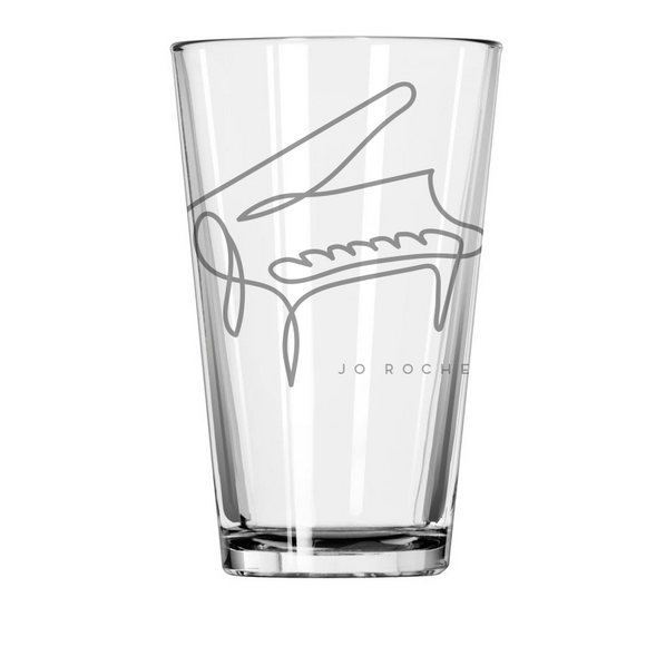 Jo Rochell Music Illustrated Piano Etched Pint Glass