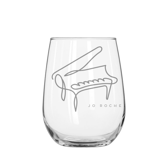 Jo Rochell Music Illustrated Piano Stemless Wine Glass