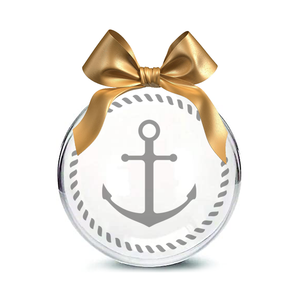 Anchor Hand-Etched Glass Ornament