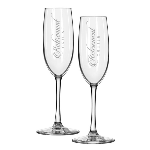 Set of 2 RETIREMENT CRUISE Etched Champagne Flutes
