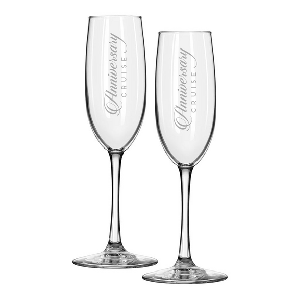 Set of 2 ANNIVERSARY CRUISE Etched Champagne Flutes