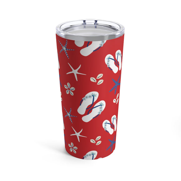 Red Flip Flops & Sea Shells 20oz Hot/Cold Stainless Tumbler