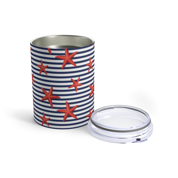 Nautical Stripes & Starfish 10oz Insulated Tumbler