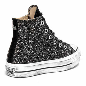 famous brand save off best sneakers Converse All Star Alte Glitterate Nere - Suola Alta Platform