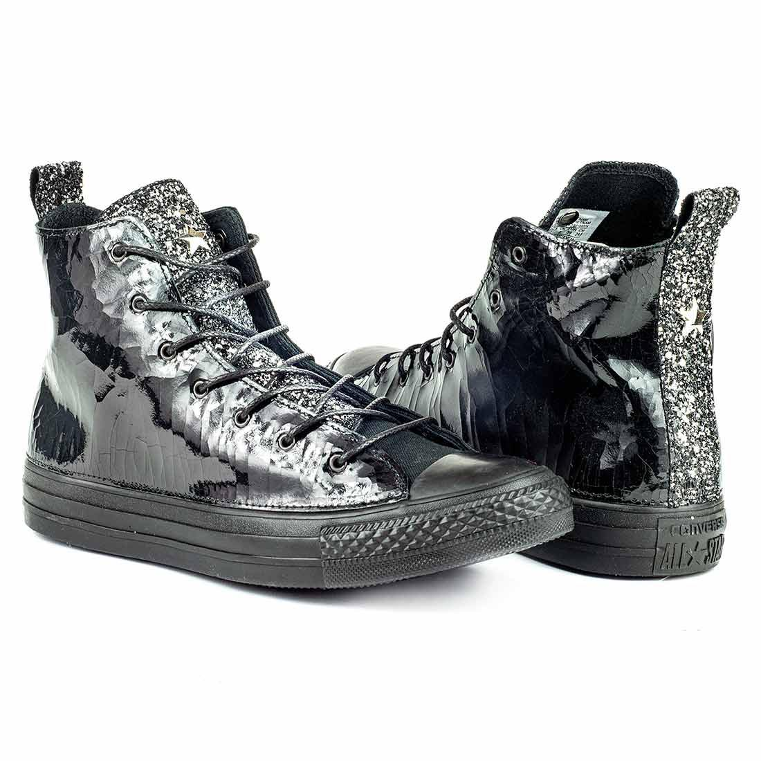 All Star alte Nere in vernice e brillantini Argento scontate in saldo