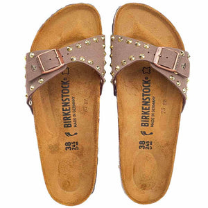 Ciabatte Birkenstock Madrid con borchie dorate - colore Marrone