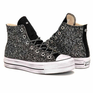 converse all star pltaform alte glitterate e personalizzate con glitter nero customizzate