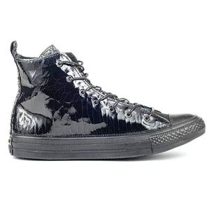 Converse All Star in Vernice Nere con Gitter Argento