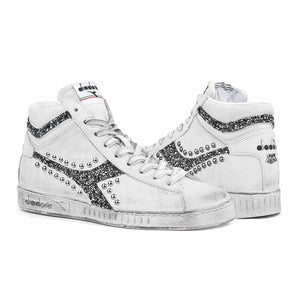 Diadora Game high borchiate e glitterate con brillantini nere personalizzate da Racoon-LAB