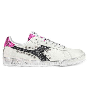 Scarpe Diadora game low pitonate color rosa fluo con glitter e borchie