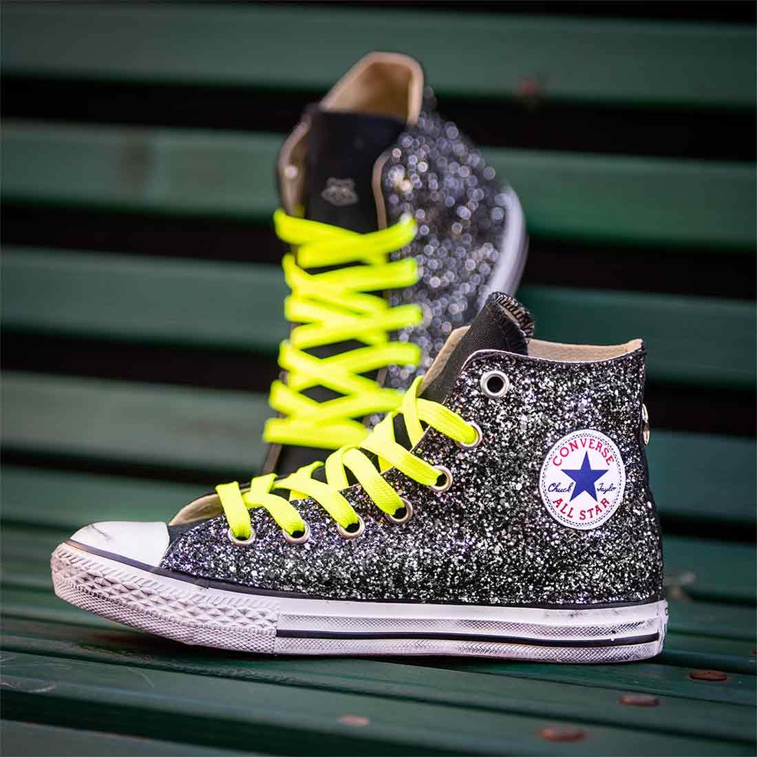converse all star alte glitter nero borchie