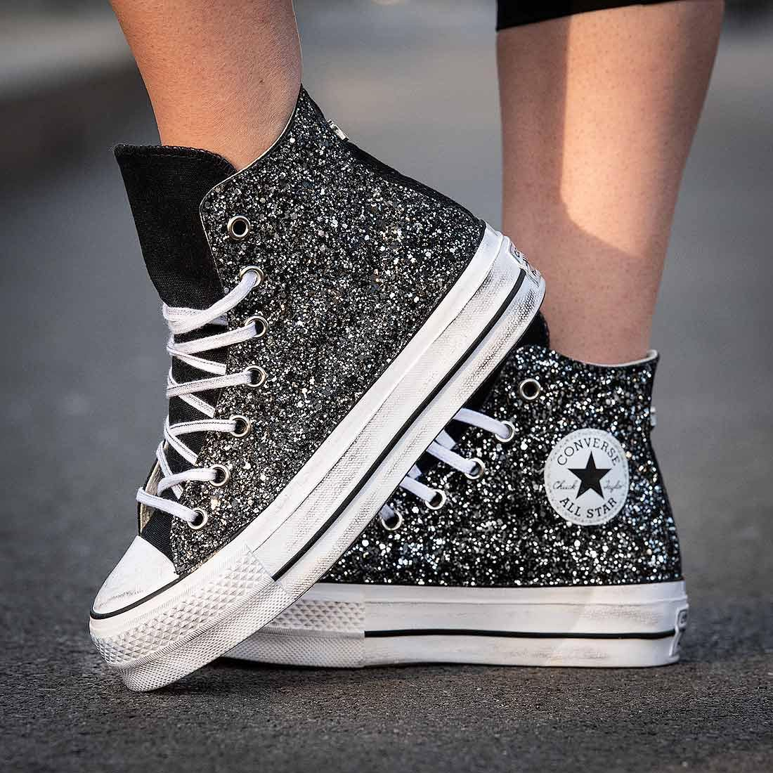finest selection f3fd1 93488 Converse All Star Alte Glitterate Nere - Suola Alta Platform