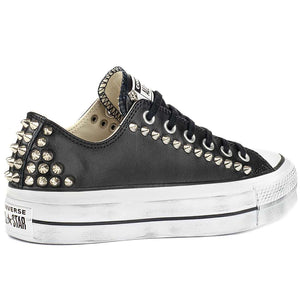 Scarpe converse all star basse in pelle nere con borchie