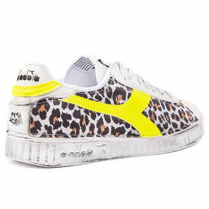 Snakers Diadora Game low leopardate maculate giallo fluo fluorescente animalier