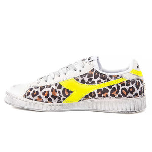 Sneakers Diadora Game low giallo fluo leopardate animalier maculate fluorescente