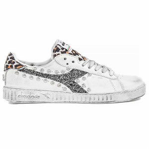 Sneakers Diadora Game low maculate maculato animalier con borchie glitter nero con borchie