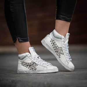 Sneakers donna alte in pelle pitone modello diadora game high personalizzate da Racoon-LAB