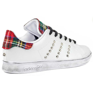 adidas stan smith custom con borchie e tartan scozzese