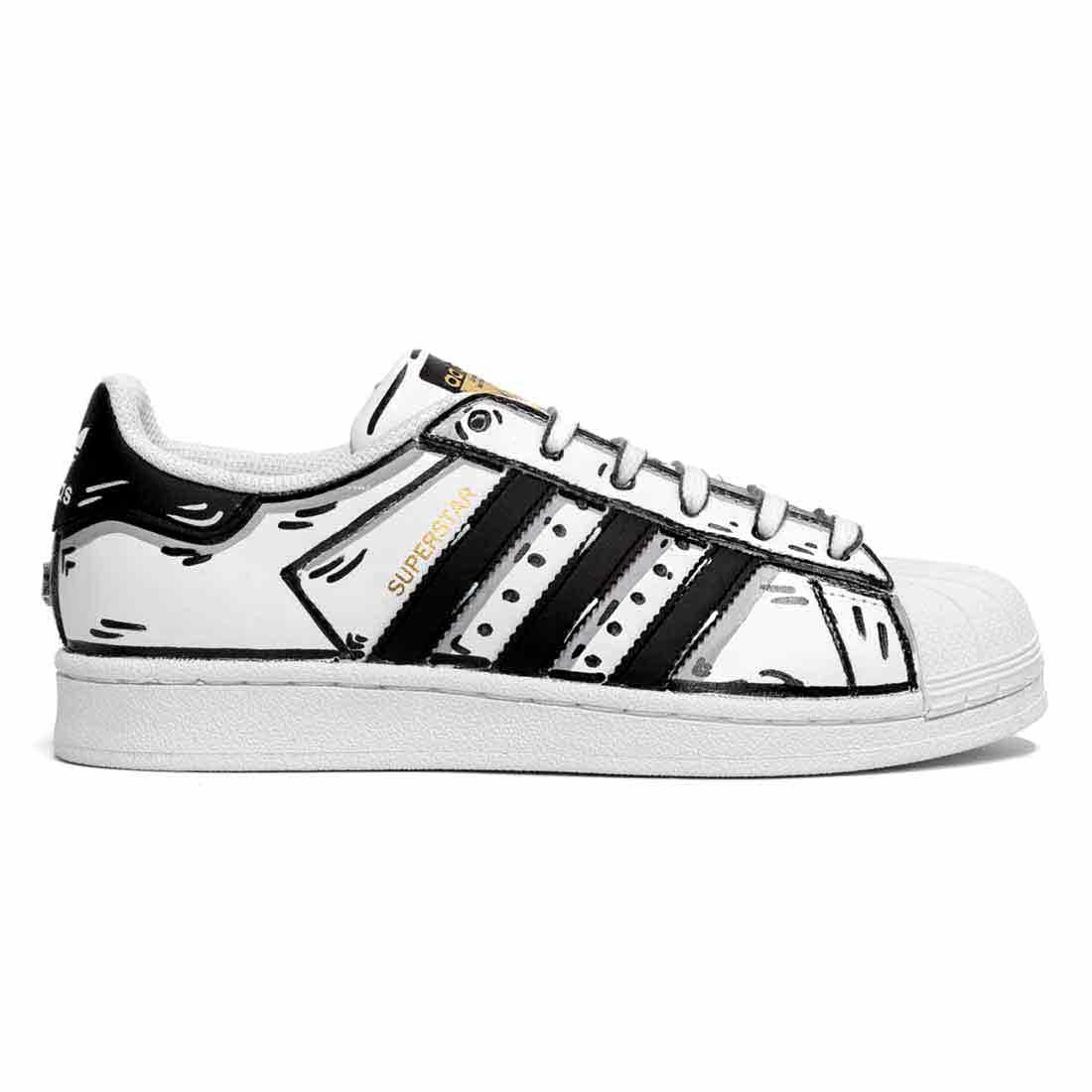 adias superstar effetto cartoon black and white