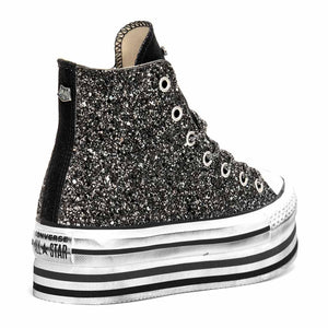all star alte con glitter nero suola a righe
