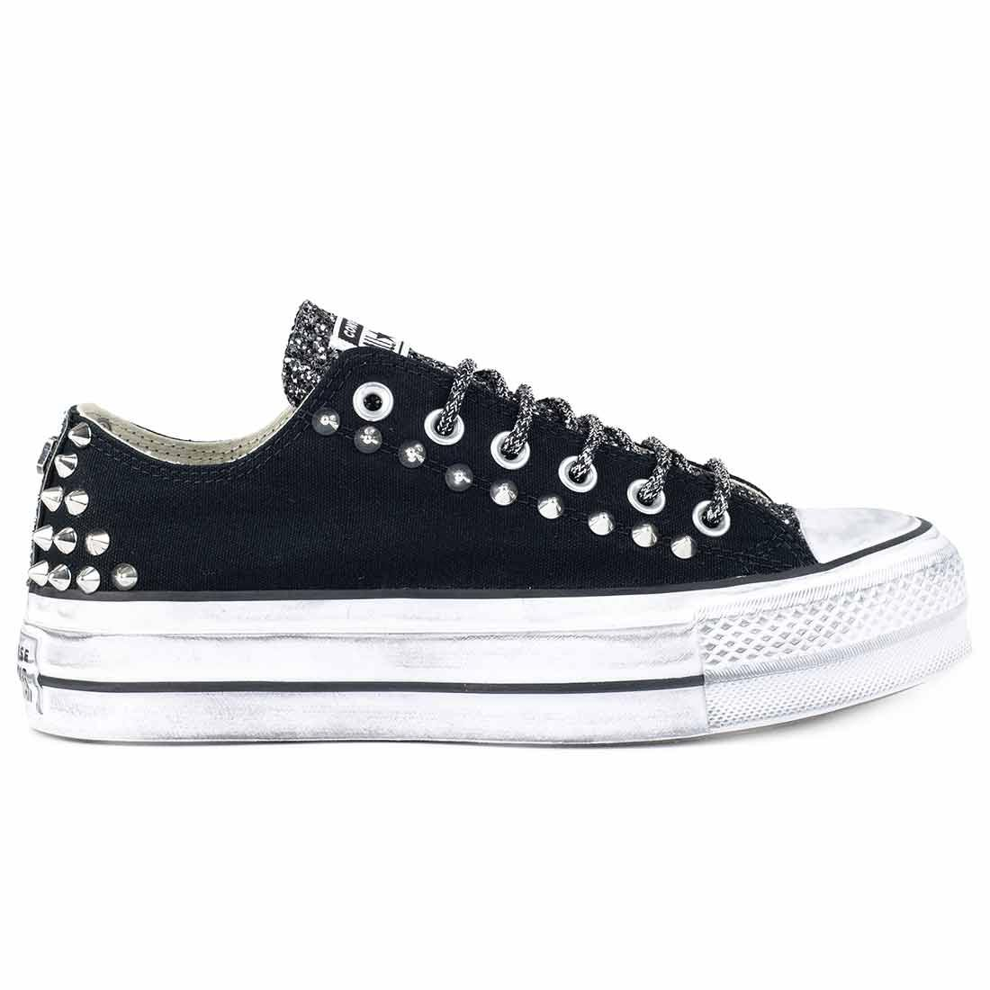 all star basse con borchie a cono e glitter nero