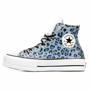 all star con brillantini leopardate blu