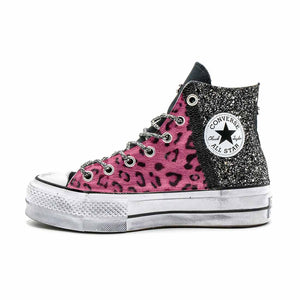 all star con brillantini leopardate rosa
