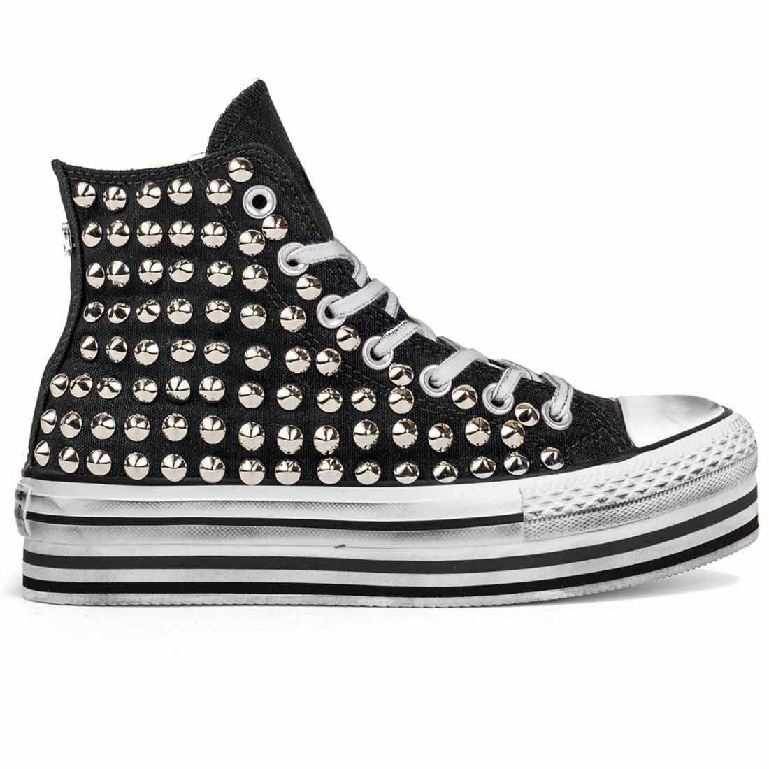 all star custom con borchie argento e suola platform lines