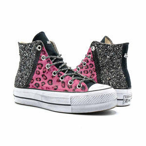 all star glitter leopardate rosa