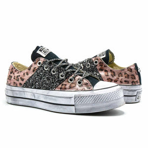 all star con glitter leopardate rosa