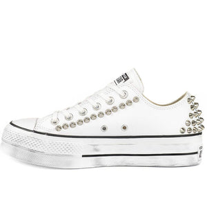 all star platform basse bianche in pelle con borchie
