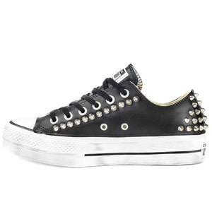 all star platform basse colore nere con borchie