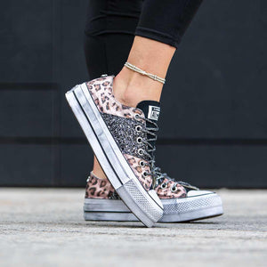 all star platform con brillantini rosa e animalier metallizzato