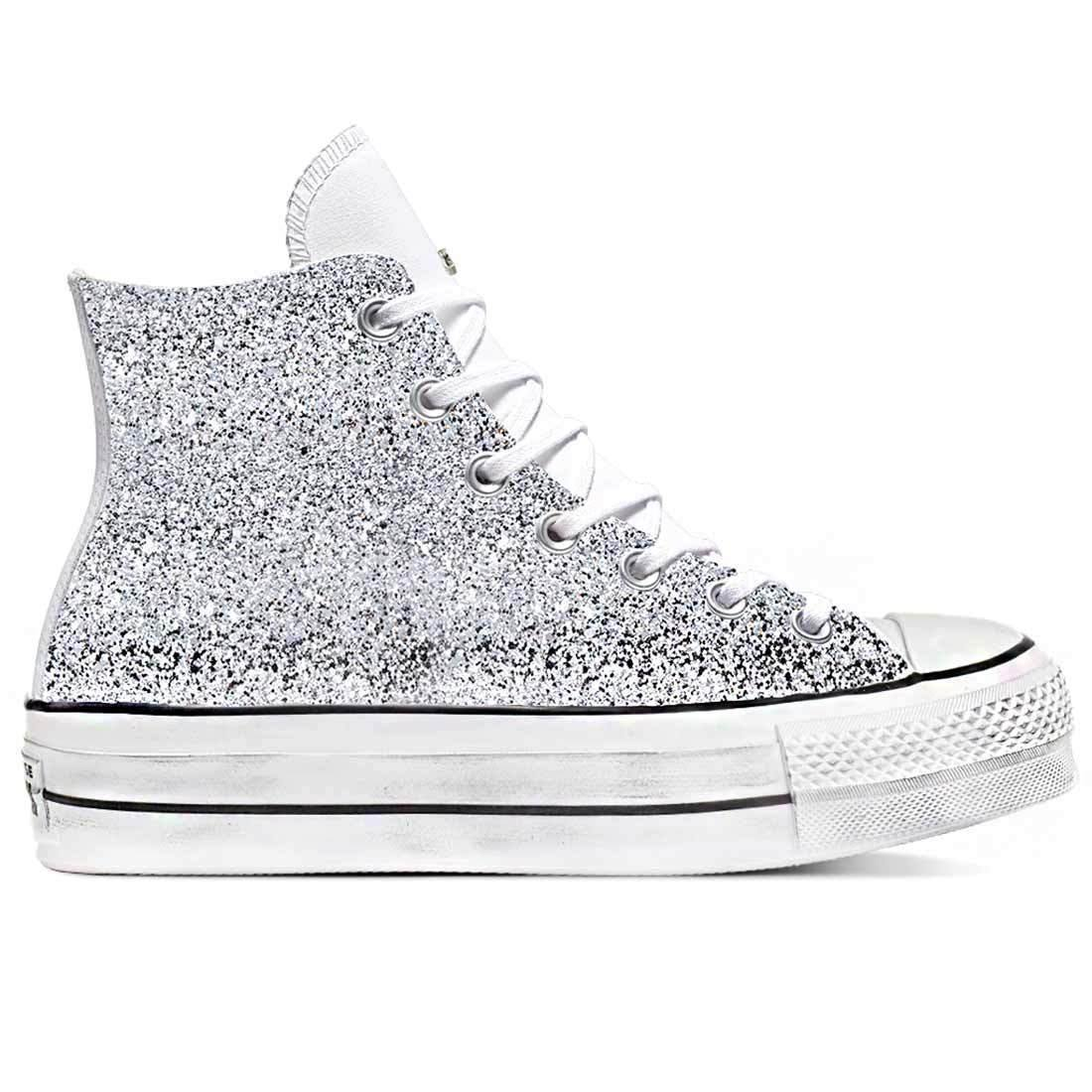 all star platform in pelle bianche con glitter alte