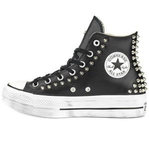 all star platform in pelle nere alte con borchie