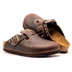 birkenstock boston marroni con borchie oro