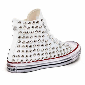 converse all star alte con borchiette in tela bianca